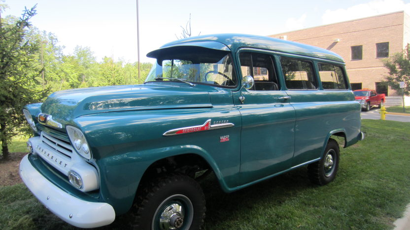 1958 Chevrolet Suburban NAPCO 4-Wheel Drive presented as lot S73 at Schaumburg, IL 2013 - image6