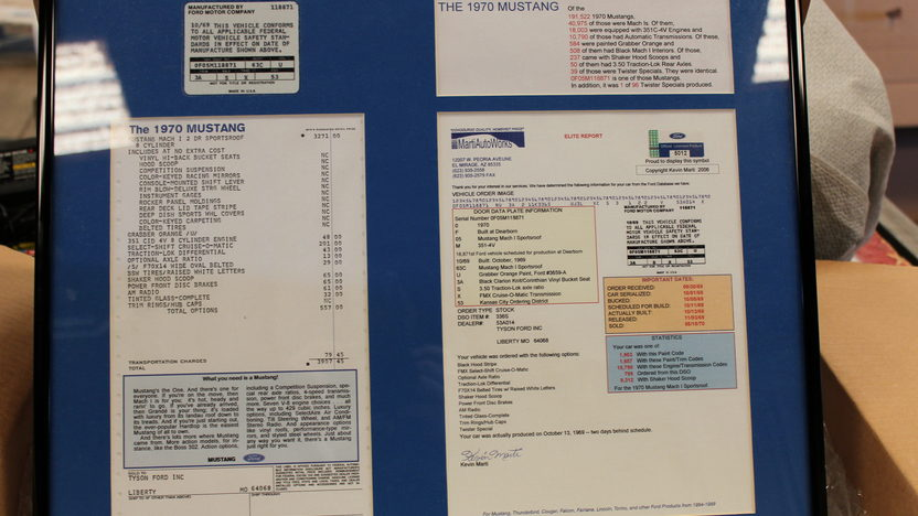 1970 Ford Mustang Twister Special 351 CI, Original Invoice presented as lot S88 at Kansas City, MO 2013 - image8