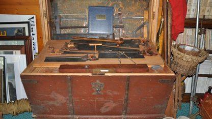 Shipwright's 1850s Immigrant Trunk & Tools
